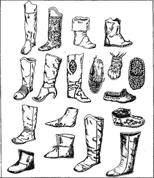 Типи взуття різних верств населення. XI—XV ст.