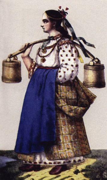Вбрання селянської дівчини XVIII ст.