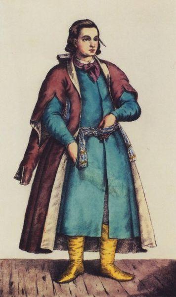 Козацький писар.Поверх жупана одягнутий кунтуш.