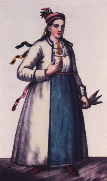 Селянське жіноче вбрання XVIII ст.