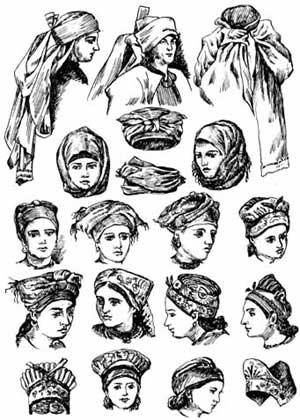Типи жіночих головних уборів. XVII—XVIII ст.