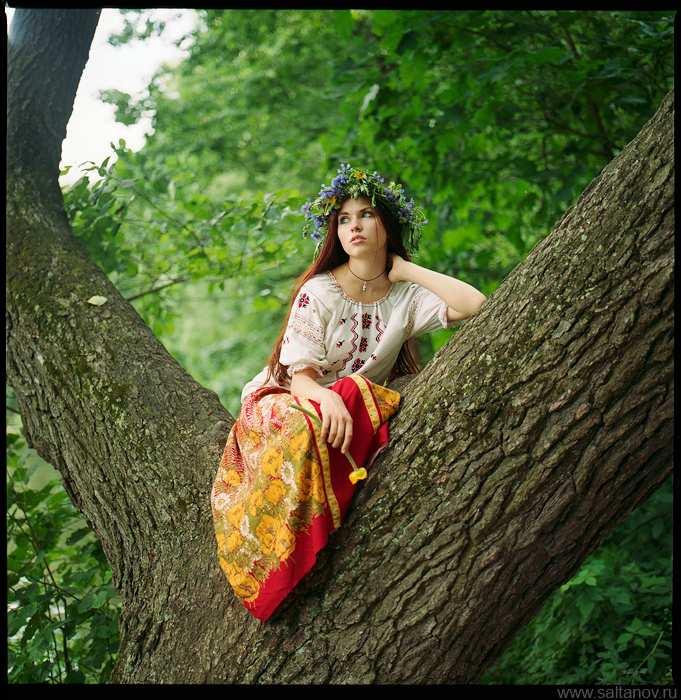 Українська дівчина на дереві