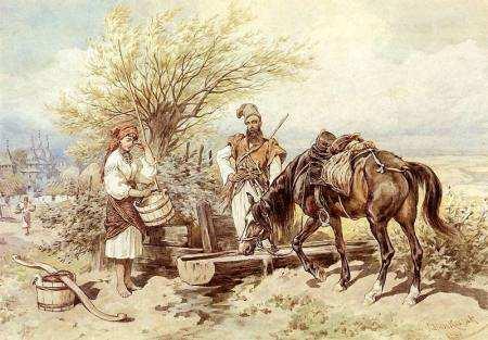 Козак напуває коня