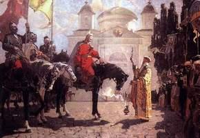 Благословення перед Катедральним храмом у Каневі козацького полководця Остапа Дашкевича