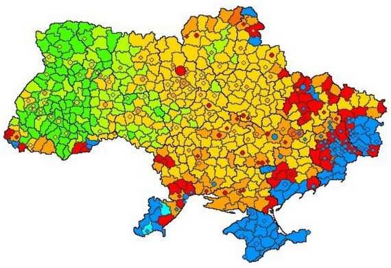 Мапа України - рідна мова